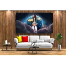 Tablou Canvas Astronomie Craiova - Pamantul si racheta - Persona Design