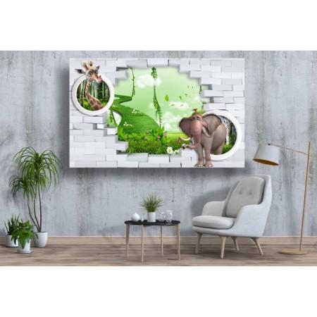 Tablou Canvas Copii Craiova - 3d girafa si elefantul - Persona Design