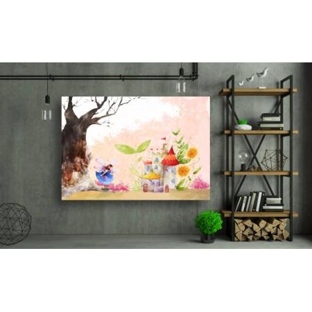 Tablou Canvas Copii Craiova - Fetita si castelul - Persona Design