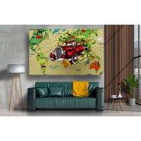 Tablou Canvas Copii Craiova - Masina din perete abstract - Persona Design
