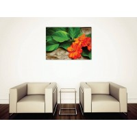 Tablou Canvas Flori Craiova - Flori portocalii cu frunze - Persona Design