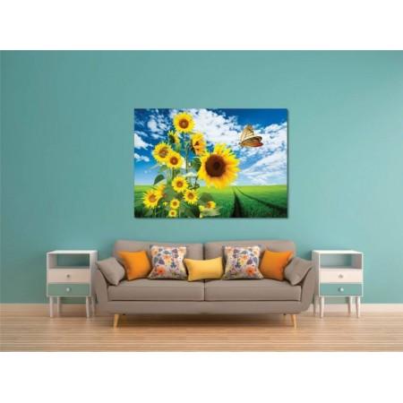 Tablou Canvas Flori Craiova - Fluture si floarea soarelui - Persona Design