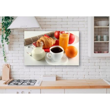Tablou Canvas Mancare Craiova - Cafea cu suc si croissant - Persona Design