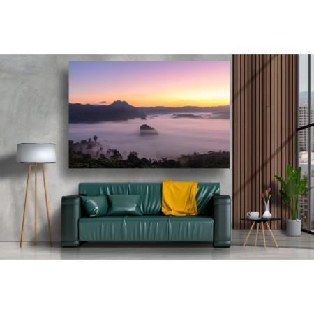 Tablou Canvas Natura Craiova - Muntii in ceata la apus - Persona Design