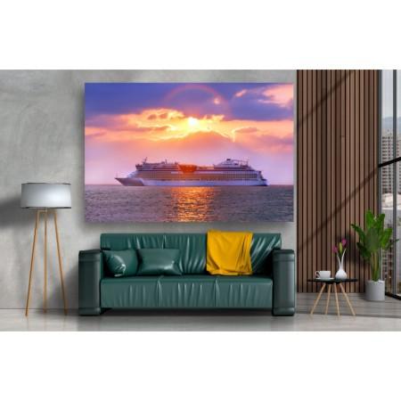 Tablou Canvas Natura Craiova - Vaporul pe mare la apus - Persona Design