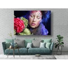 Tablou Canvas Sexi Craiova - Femeie cu flori portret - Persona Design
