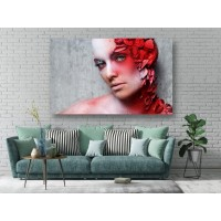 Tablou Canvas Sexi Craiova - Femeie cu makeup artistic rosu - Persona Design