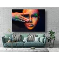 Tablou Canvas Sexi Craiova - Femeie sexy cu machiaj colorat - Persona Design