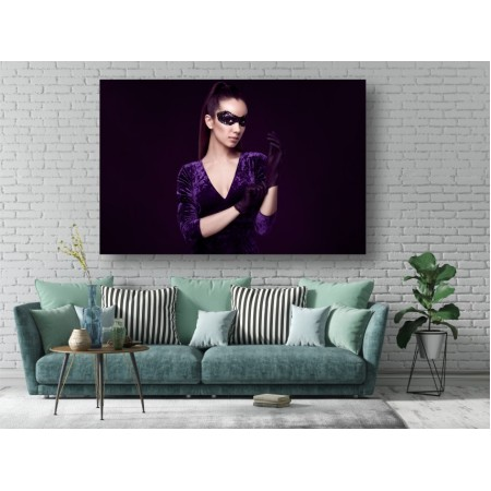 Tablou Canvas Sexi Craiova - Femeie sexy cu manusi violet - Persona Design