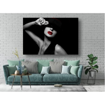 Tablou Canvas Sexi Craiova - Femeie sexy cu ruj rosu - Persona Design