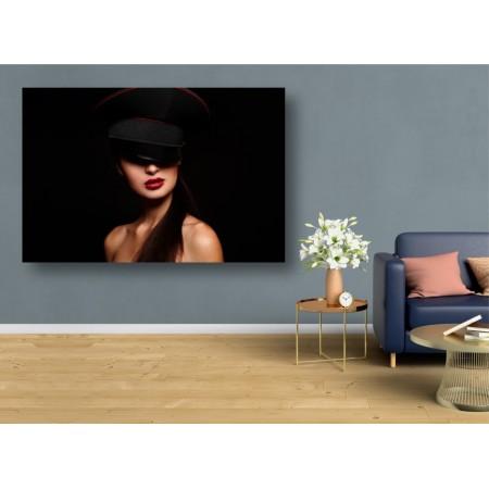 Tablou Canvas Sexi Craiova - Femeie sexy cu ruj rosu si palarie - Persona Design