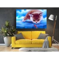 Tablou Canvas Animale Craiova -  Pescuit felin- Persona Design