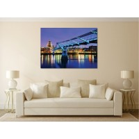 Tablou canvas Podul luminat albastru - Persona Design