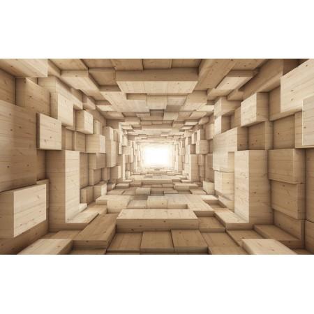 Fototapet 3D Personalizat - Tunel de lemn - Persona Design