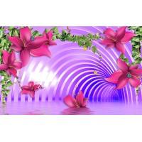 Fototapet 3D Personalizat - Flori in tunel - Persona Design