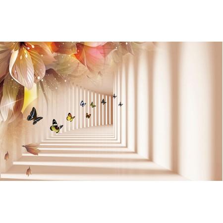 Fototapet 3D Personalizat - Flori si fluturi - Persona Design