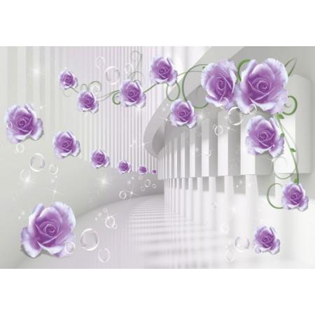 Fototapet 3D Personalizat - Trandafiri Violet  - Persona Design