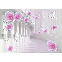 Fototapet 3D Personalizat - Trandafiri si Fluturi  - Persona Design