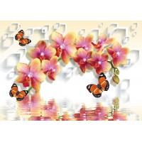 Fototapet 3D Personalizat - Orhidee si Fluturi  - Persona Design