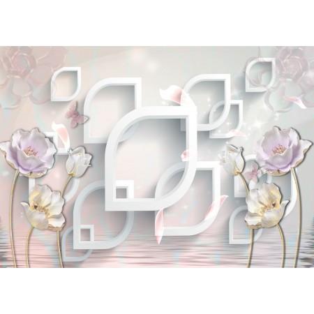 Fototapet 3D Personalizat - Flori si Fluturasi  - Persona Design