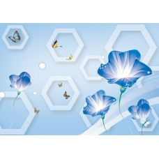 Fototapet 3D Personalizat - Flori Albastre  - Persona Design