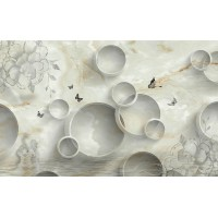 Fototapet Abstract Personalizat - Cercuri si Marmura