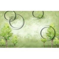 Fototapet Abstract Personalizat - Cercuri si Copaci