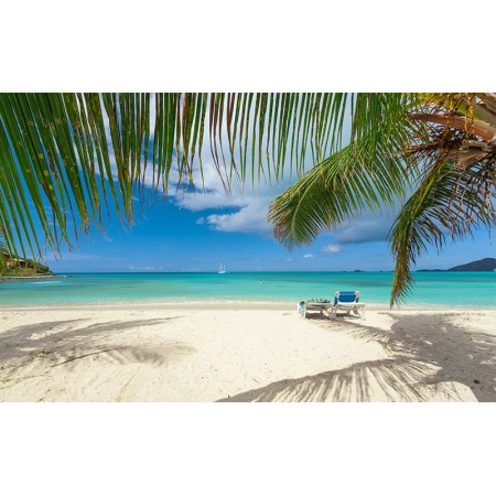 Fototapet Natura Personalizat - Sezlong la plaja