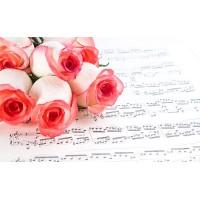 Fototapet Natura Personalizat - Trandafiri Rosii Muzicali