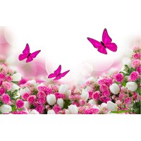 Fototapet Natura Personalizat - Fluturi si Trandafiri